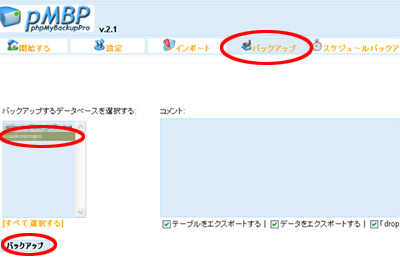 phpMyBackupProの手動バックアップ画面