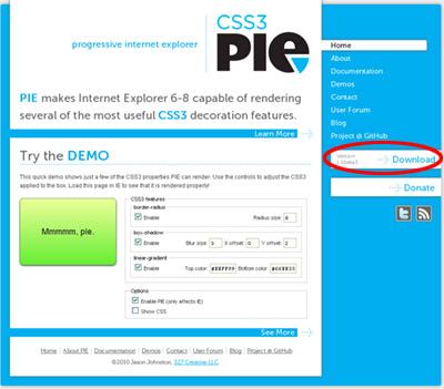 CSS3 PIEをダウンロード